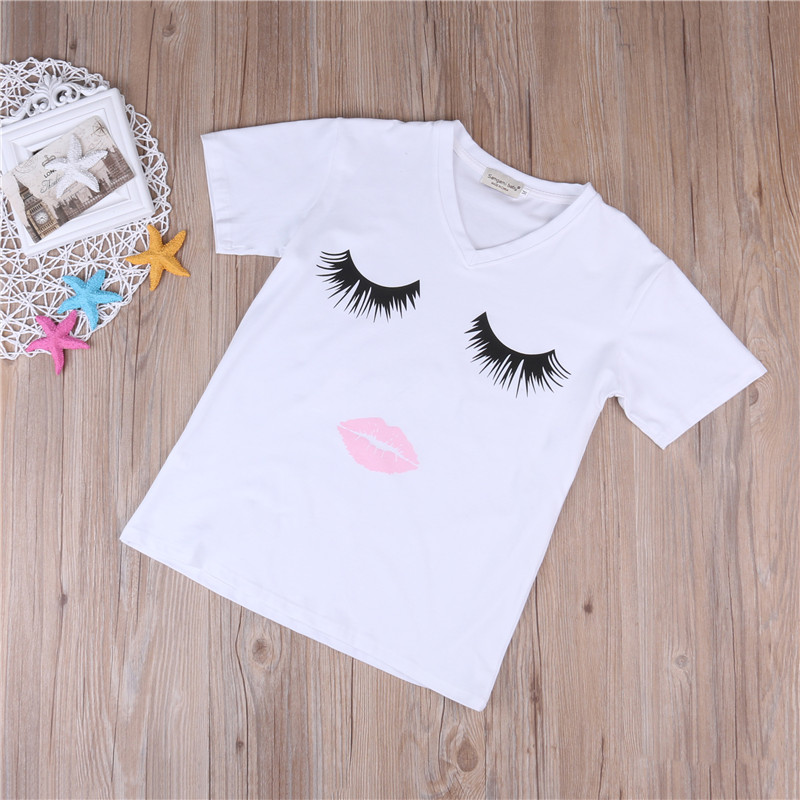 HTB1YNINXKUXBuNjt XBq6xeDXXal HOT Mom and Daughter Matching Clothes Women Mother&Kids Baby Girl Summer Short Sleeve Eyelash Bodysuit T Shirts Clothes