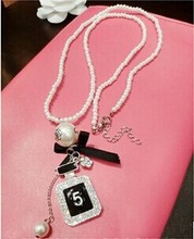 2014 New Fashion Jewelry Perfume Bottle Simulated Pearl Necklace Long Pendant Necklace For Women