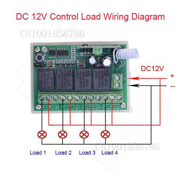 DC12V 4CH 4-Channel Wireless RF Remote Control Relay Switch Transceiver Receiver