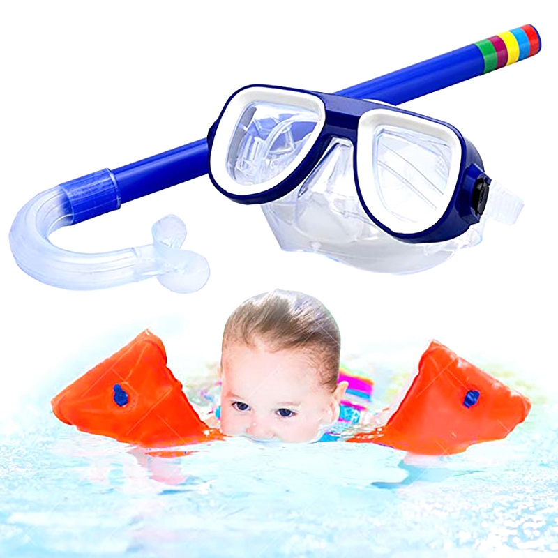 Kids Diving Goggle  Anti-fog Mask Breathing Tube Shockproof Swimming Glasses Band Snorkeling Underwater Accessories Set New