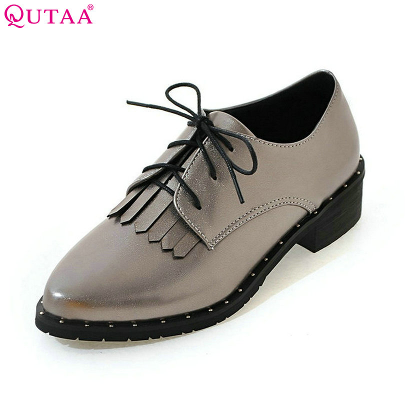 QUTAA 2017 Women Pumps Summer Lace Up Ladies Shoe Square Low Heel Tassel PU Leather Fashion