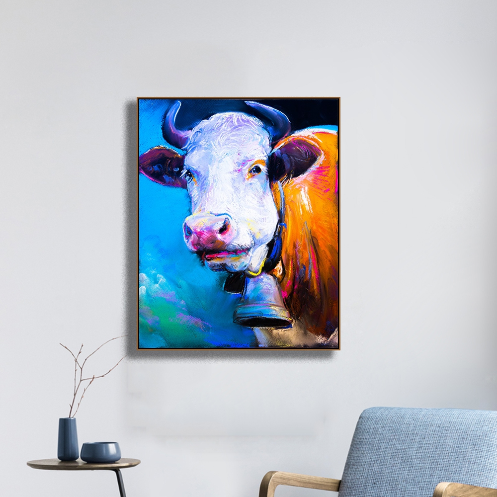 Watercolor Cow Animals Print on Canvas Home Decor Wall Art Oil Painting Picture Postesrs for Living Room Bedroom Decoration