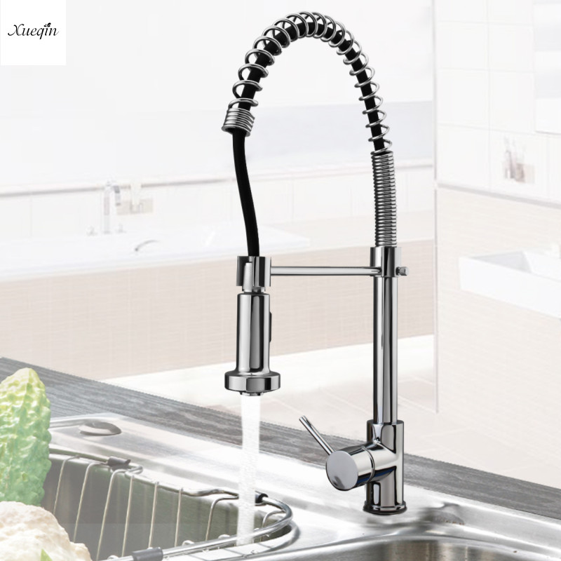 Kitchen Chrome Brass 360Rotation Pull Out Down Spray Basin Faucet Single Handle Spout Mixer Tap Deck Mounted Hot and Cold VesselKitchen Chrome Brass 360Rotation Pull Out Down Spray Basin Faucet Single Handle Spout Mixer Tap Deck Mounted Hot and Cold Vessel