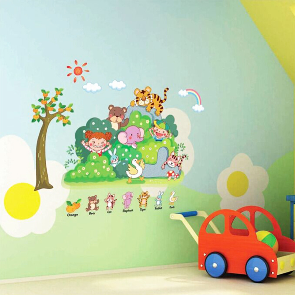 Jungle Wild Cartoon Zoo Animal Wall Sticker For Kindergarten And Children  Room Quotes 3D Wall Stickers