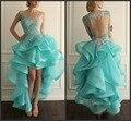 Nova Alta Baixa Prom Vestidos Hi Lo Vestido Azul Organza com Babados de renda Azul Frisada Lace Sheer Voltar Organza Partido Prom Dress