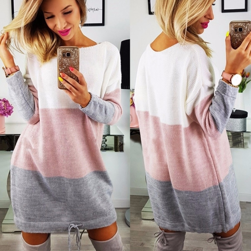 Sinfeel Round Neck Long Sleeve Knitted Dress Warm Sexy Loose Long Sweater Autumn Winter Sweater Women Cozy Sweater Jersey Mujer