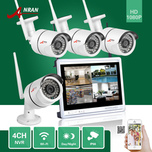 "ANRAN CCTV 1080P P2P 4CH WIFI NVR 12""LCD Monitor 4PCS 36 IR Outside Mini Wi-fi IP Cameras Surveillance Safety System Kits"