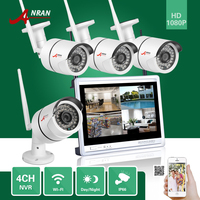ANRAN CCTV 1080P P2P 4CH WIFI NVR 12 LCD Monitor 36 IR Outdoor Mini Bullet Wireless