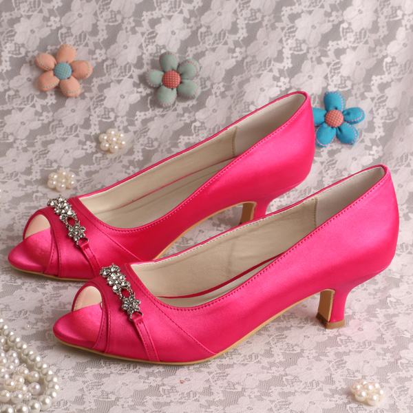 Pink Low Heel Wedding Shoes: Wedopus MW194 Hot Pink Low Heel Shoes Bridal Peep Toe 5CM