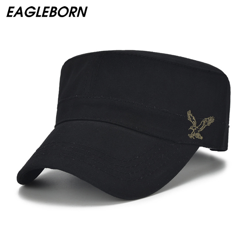 High Quality Men Vintage Flat Top Caps Embroidery Eagle Military Hats Luxury Casual Women Baseball Hat Cotton Black Army Cap