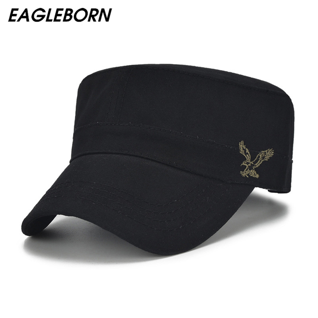 069c95c3d7db27 High Quality Men Vintage Flat Top Caps Embroidery Eagle Military Hats  Luxury Casual Women Baseball Hat