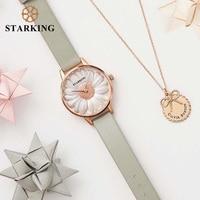 Старкинг наручные часы класса люкс розовое золото Для женщин браслет Часы цветы Дизайн Кварц Мода Повседневная Женская обувь часы relogios