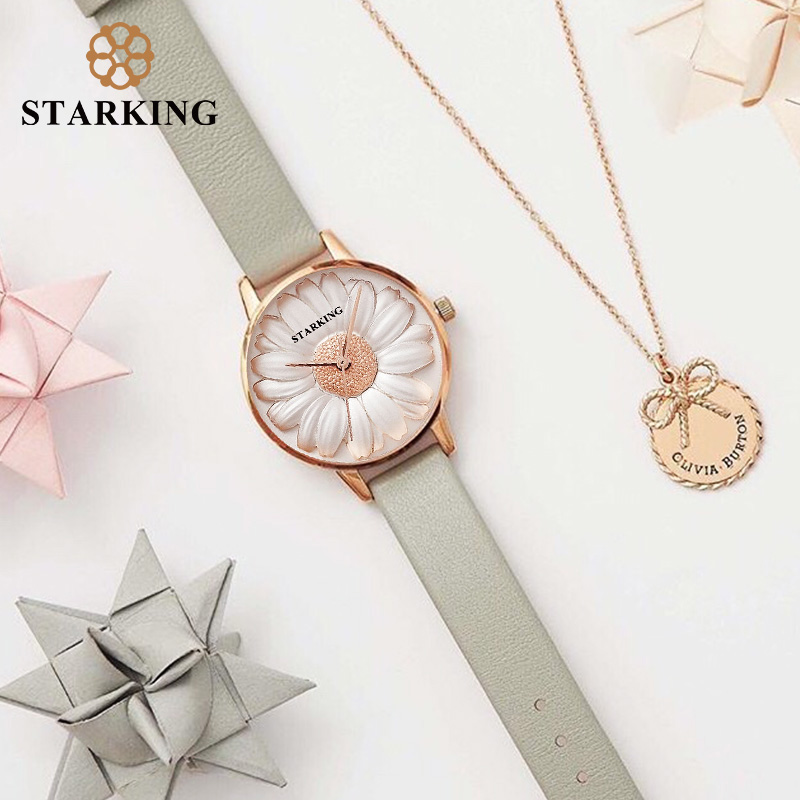 STARKING Wristwatch Luxury Rose Gold Women Bracelet Watches Flowers Design Quartz Fashion Casual Female Clock Watch Relogios duoya fashion luxury women gold watches casual bracelet wristwatch fabric rhinestone strap quartz ladies wrist watch clock