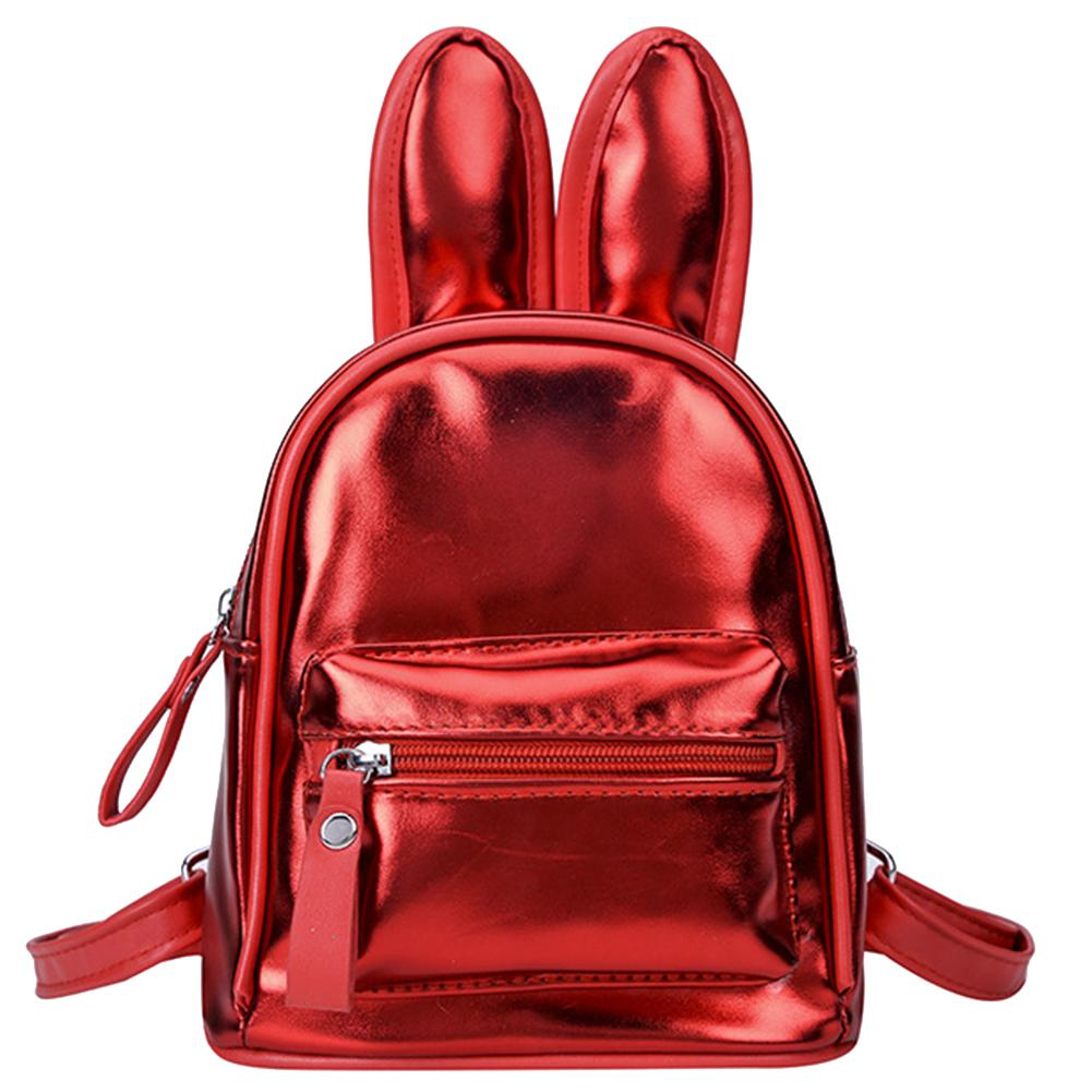 New Children Girl Travel School Cute Rabbit Ears Backpack Faux Leather Shoulder Bag(China)