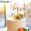 Lincaier Golden Silver Love Wedding Cake Topper Decoration Sparkle Glitter Engagement Party Anniversary Favors Event Supplies