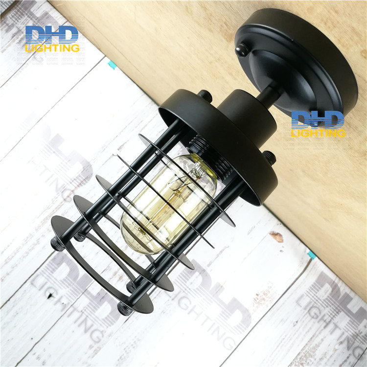 Free shipping Black finished iron shade edison style E27 industrial ceiling light black cage high quality