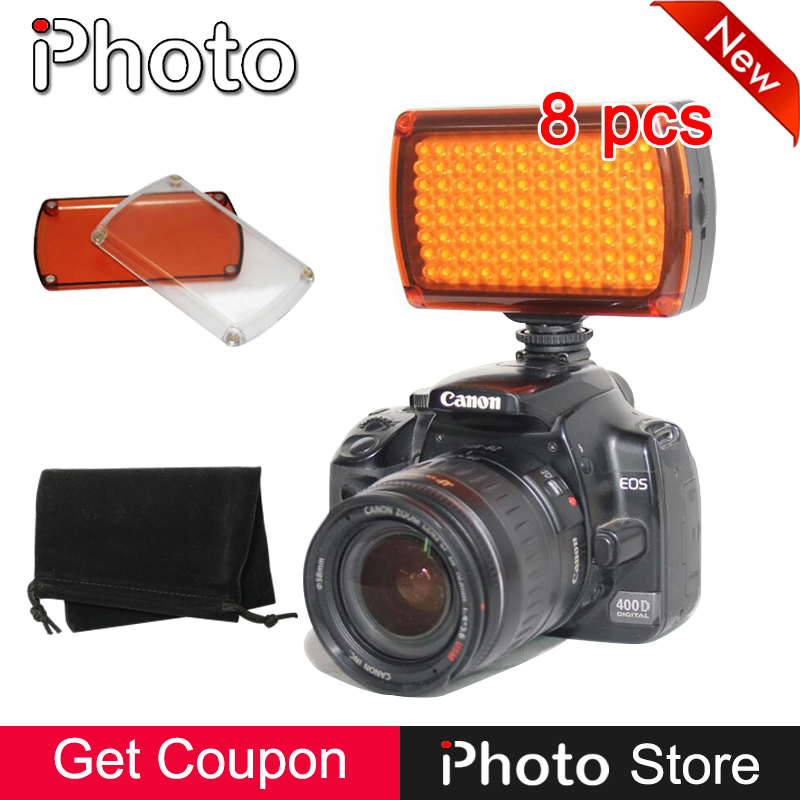 Wholesale 8 Pieces Dimmable 96 LED Photo Video Fill Light for Canon Nikon Sony Camera DV Camcorder Wedding Photography Lighting godox led 308y 308 leds professional led video 3300k light with remote control for canon nikon camera dv camcorder