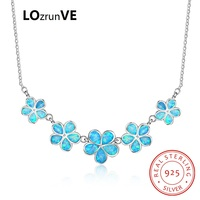 LOZRUNVE 2018 New Design S925 Sterling Silver Jewelry Elegant Choker Sweet Flowers Opal Party Necklace Women Wholesale