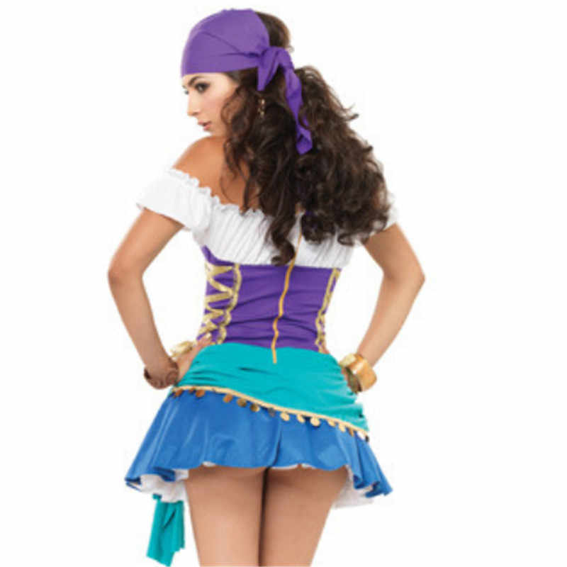 2018 new Sexy blue Pirate Dress Female Pirate Cosplay Costumes Party Game  clothes Somali pirates Costume Halloween for women