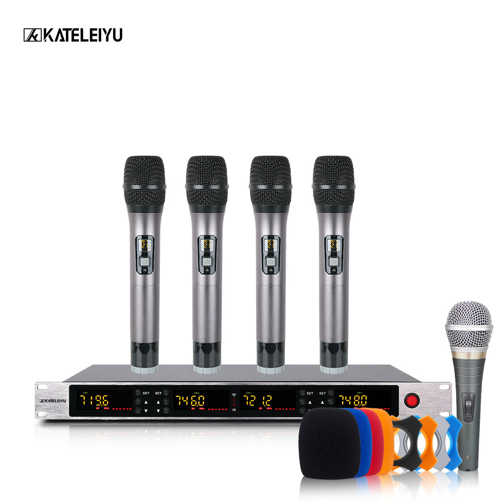 UHF 4 handheld professional frequency modulation wireless dynamic microphone family party quality church singer karaoke intercom