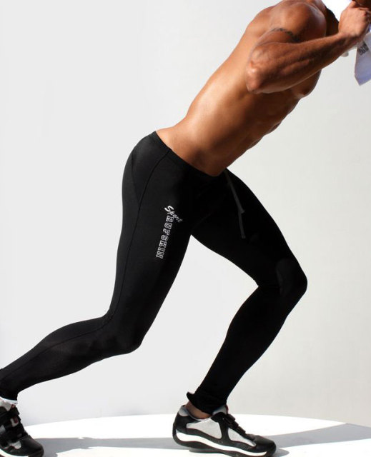 Fashion 2015 Mens Compression Pants Low Rise Sweatpants Elastic Polyester Long Tights Men Black Mallas Hombre Compresion