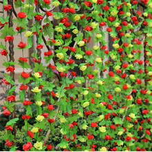 Artificial Ivy Vine with flowers Hanging Garland Plants Christmas Party Home Decor DIY Wall Sticker Wedding Decorations 6 Colors