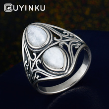 GUYINKU Vintage Real 925 Sterling Silver Rings Natural Gemstones Womens Daily Life Decoration Fine Jewelry Gifts Wholesale