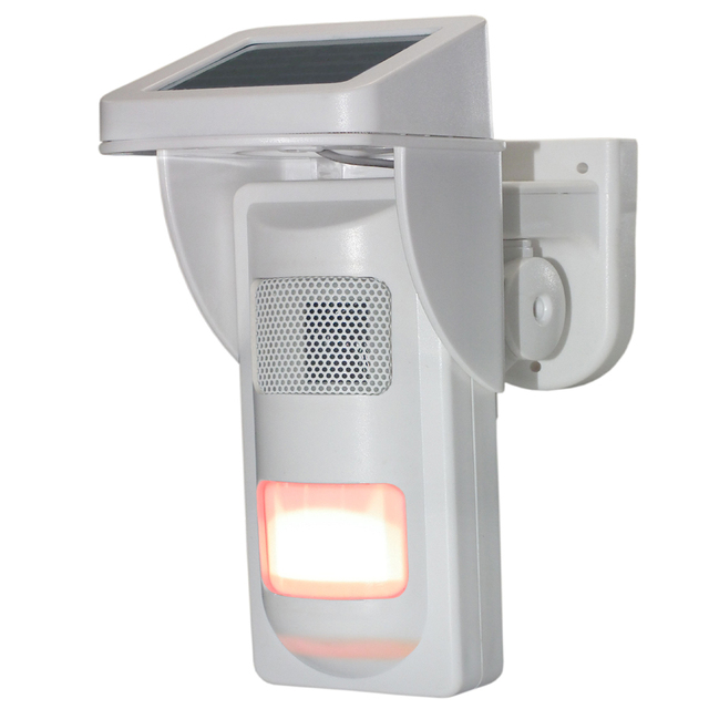Outdoor Wireless Solar Dual Infrared Sensor PIR with Single Voice Alert Waterproof  IP65 Design for Sound and Light Alarming 3