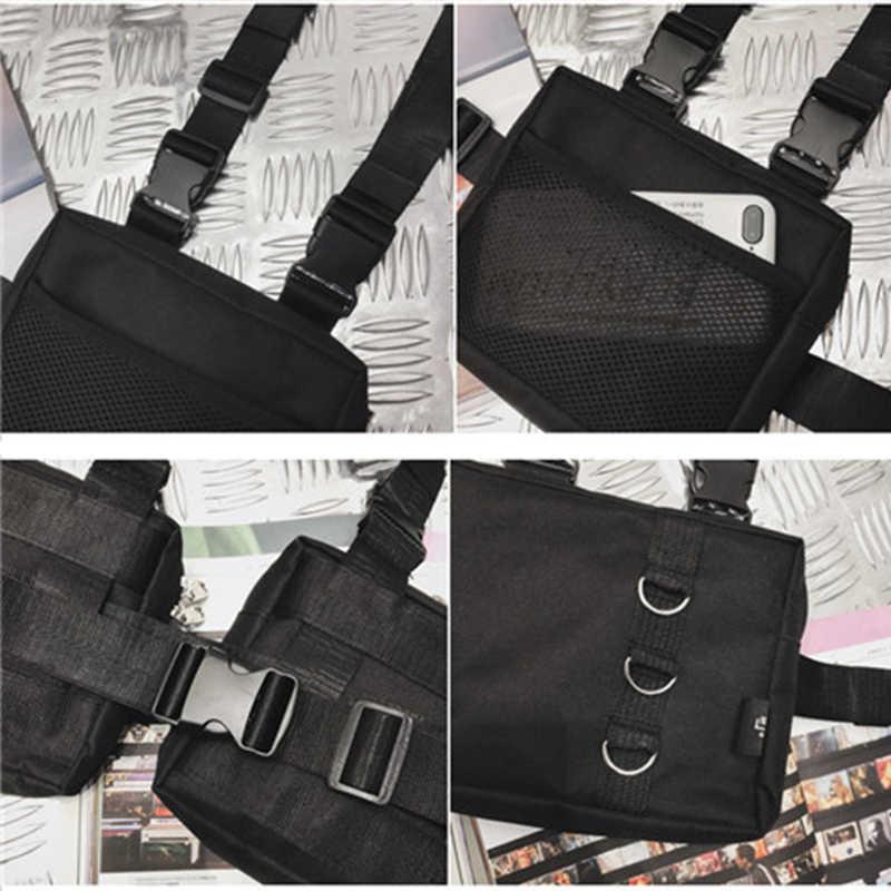 男性の戦術ハーネス胸リグバッグユニセックスヒップホップオックスフォード 2 ポケットファニーパック戦術的なストリート機能黒ベストバッグ
