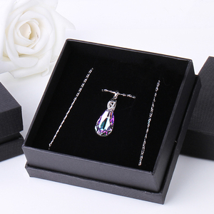 Image 5 - Warme Farben Crystal from Swarovski Necklace for Women Water Drop Shaped Crystal Pendant Necklace Jewelry Valentines Gift