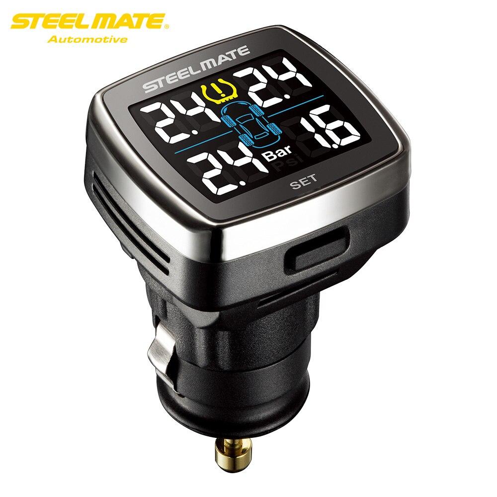 Steelmate TP-78 TPMS Système de Surveillance de Pression Des Pneus LCD Affichage Cigarette Plug USB Chargeur 4 Valve-cap Externe Capteurs