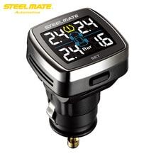 TP-78 Steelmate TPMS Sistema de Monitoreo de Presión de Neumáticos Pantalla LCD Cigarrillo Enchufe USB Cargador de 4 Válvula de tapa Sensores Externos