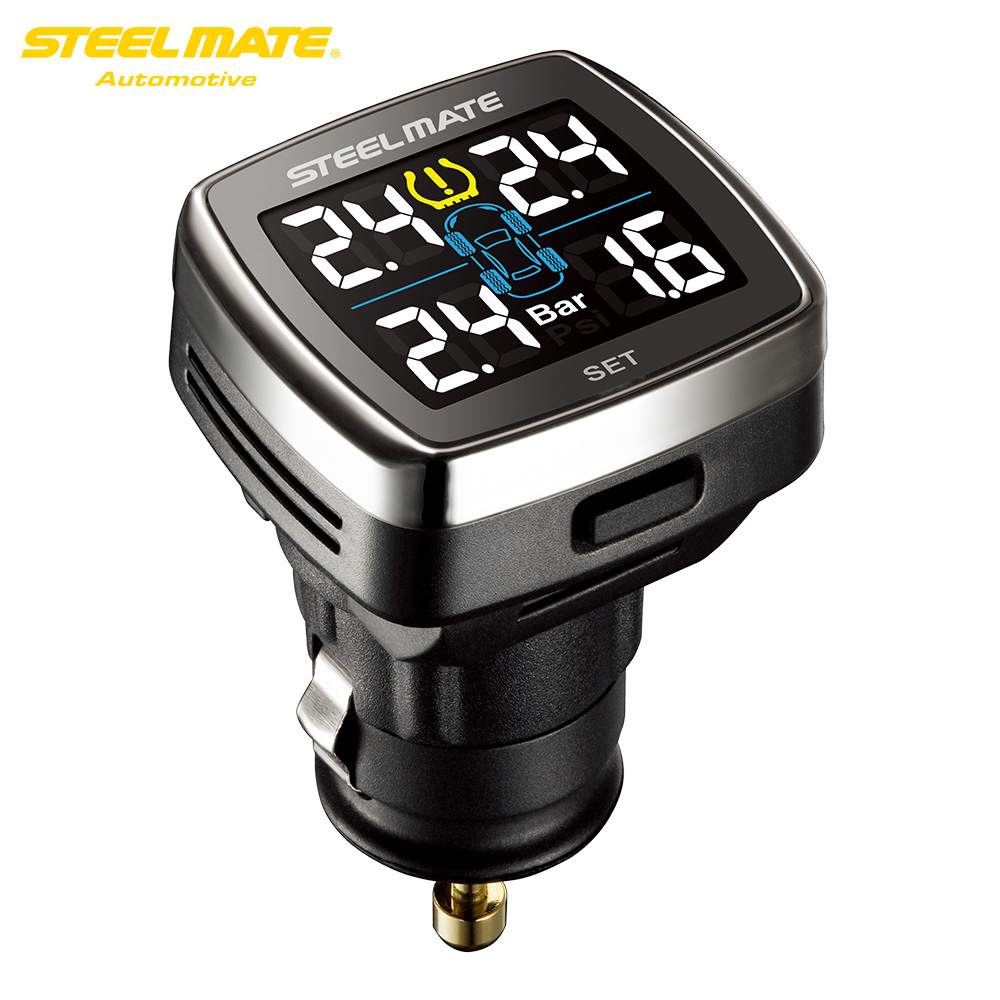 TP-78 Steelmate TPMS Tire Pressure Monitoring System LCD Display Sigaretta Spina del Caricabatterie USB 4 Valvola-cap Sensori Esterni