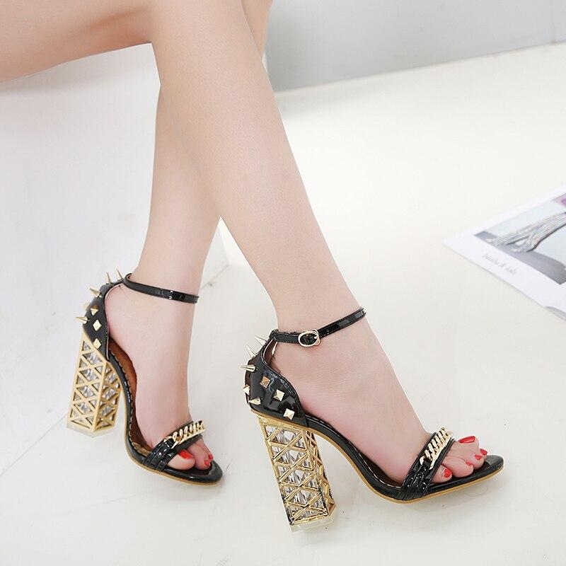 Avec Rivets Cristal Rugueux Beige noir À Sandales Hauts Haute Ouvert Bout Nouveau Talons chaussures Été x1Ynp4Rp
