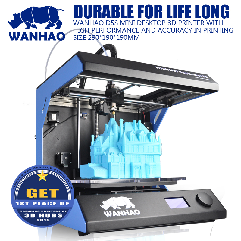 2018 Newsest wanhao D5S mini Fully Assembled 3D Printer Largest Printing Area 3D Printer Kit with ABS/PLA materials 2018 new diy tt 1s mini 3d printer 220v 110v universal made from cn fully assembled supplied with 0 3kg filament in random color