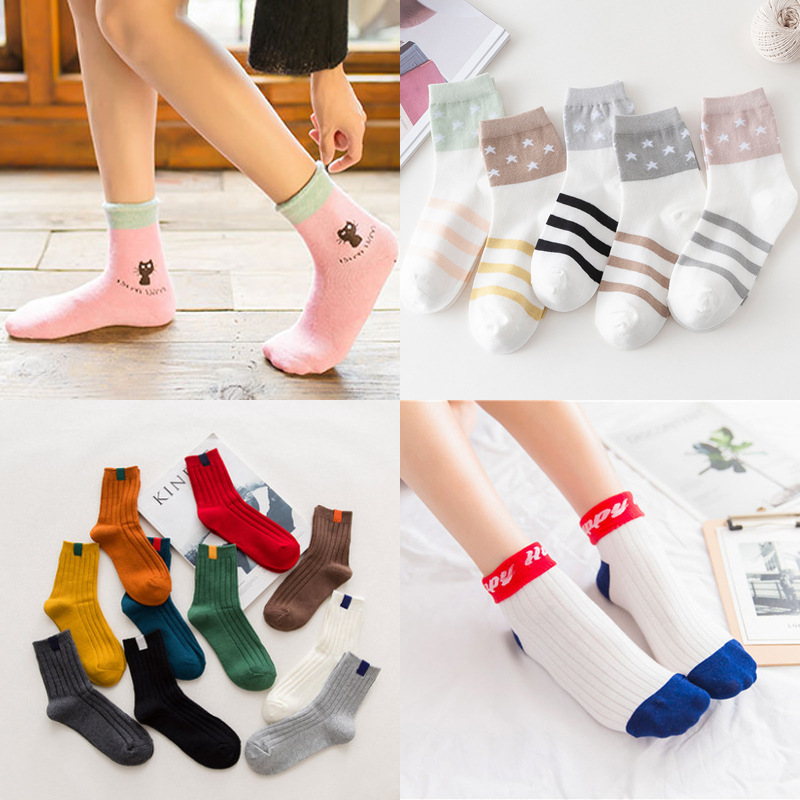 5pairs/lot Hosiery Women's Socks Korean Japanese Style Women Winter Heavy Cotton Socks Sport Sprouting Cute Female Socks