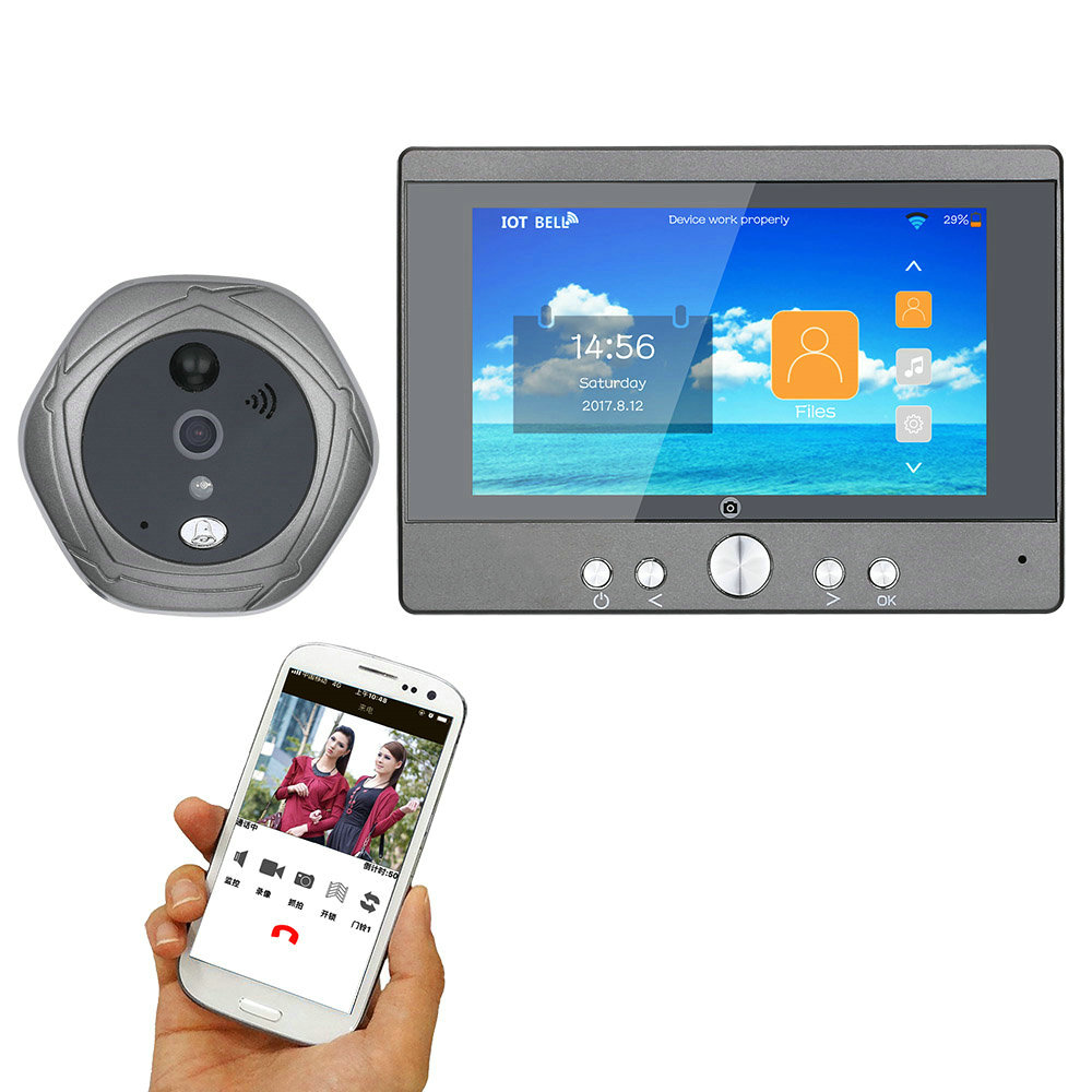 "Wireless Wifi Doorbell Digital Peephole Door Viewer 5"" Front Door Peephole Camera 160 degrees view Support Smartphone Doorphone"