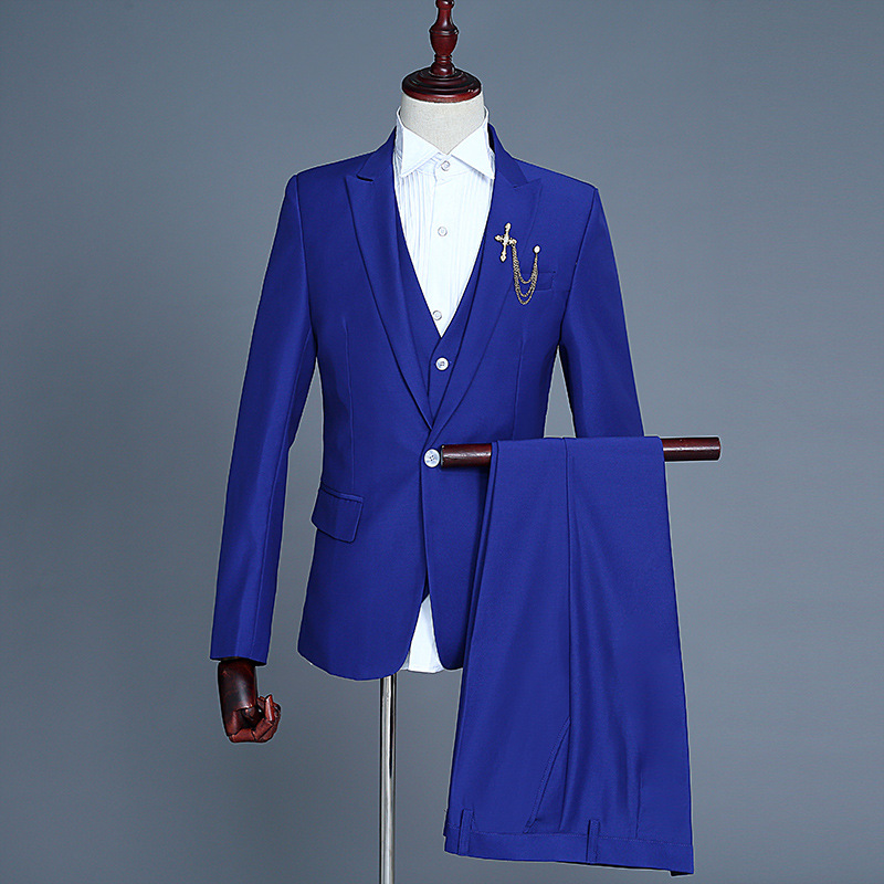 Formal Suits Men 2019 Long Sleeve Dress Mens Casual Prom For Solid Suit Slim Fit Pink Designs Clothes Three Piece Set Coat Pants in Suits from Men 39 s Clothing