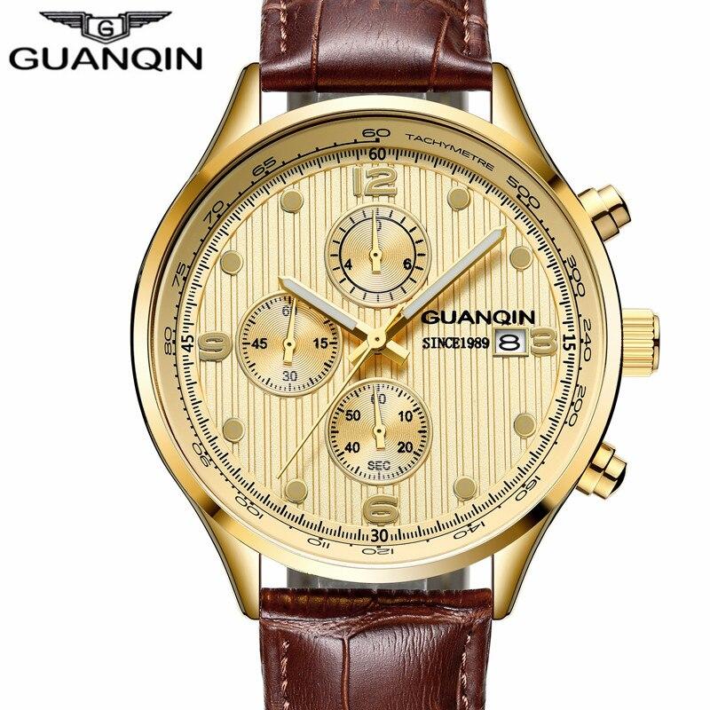 2018 Nouveau GUANQIN Top Marque Hommes Sport Casual Chronographe Horloge Hommes Classique Quartz Montres De Luxe Chronographe Montre hommes