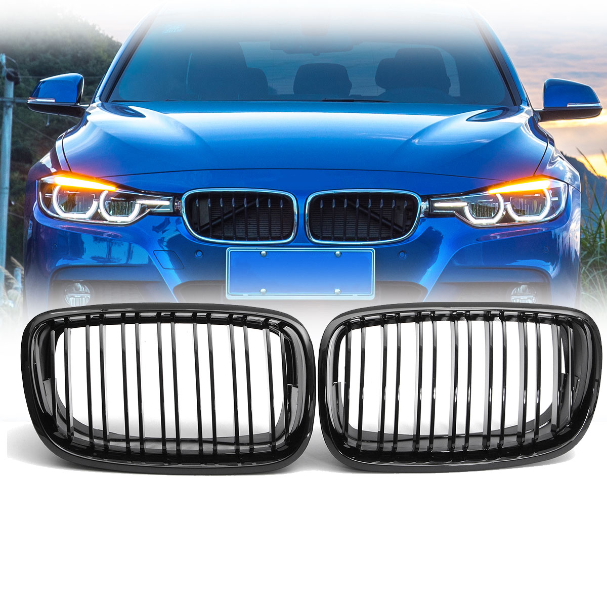 Pair Matte/Gloss Black Double Slat Kidney Grille Front Grill For BMW X5 X6 E70 E71 2007-2013 Car Styling Racing Grills