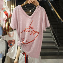 2017 Summer New Fashion Bright Silk T shirt font b Women b font V neck Letter