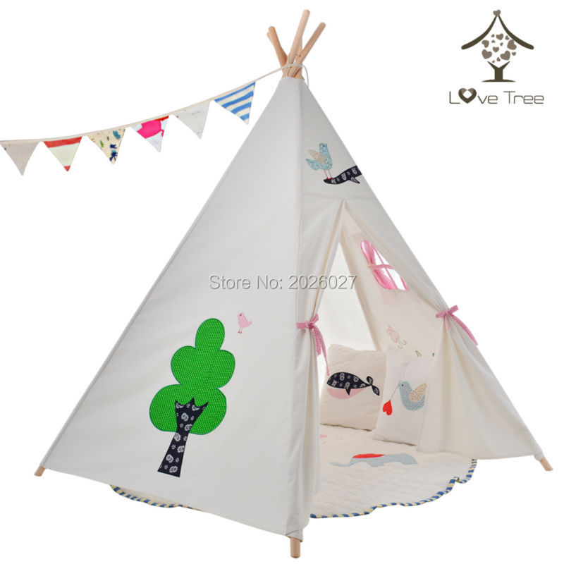 LoveTree Canvas Teepee Canopy Tent Playhouse Embroidery Flower Style Kids Play Teepee Tent Wigwam toy tent-in Toy Tents from Toys u0026 Hobbies on ...  sc 1 st  AliExpress.com & LoveTree Canvas Teepee Canopy Tent Playhouse Embroidery Flower ...