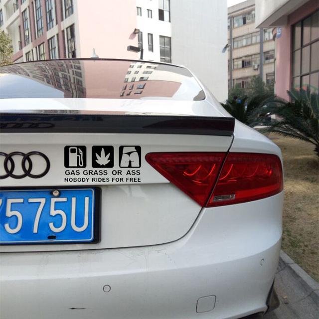 """""""Gass Grass or Ass"""" Funny Car Sticker"""