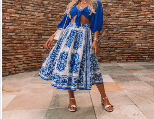 Color Femmes Mode De D'impression Soie Mousseline Jupe Picture n0Hw06q7R