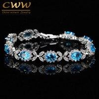 Romantic Women 925 Sterling Silver Jewelry Light Blue Austrian Crystal Love Friendship Bracelet For Women CB172