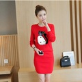 Women's Knitted Sweaters and Skirts 2PCS Sets Long Sleeve Fox Pattern Fur Costumes Female Knitting Tops Package Hip Skirt Suits