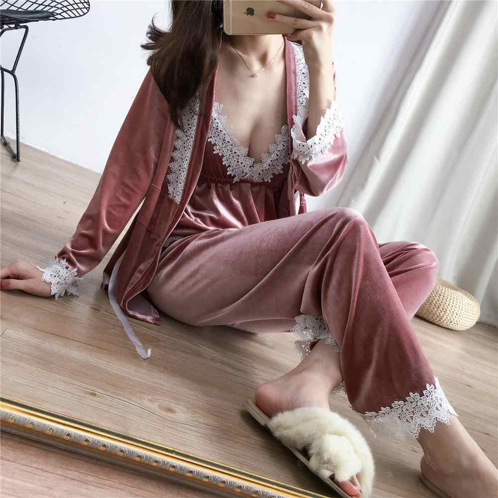 Pink Spring Velour Pajamas Sets Womens 3PC Strap Top Pantsuit Sleepwear Casual Home Wear Nightwear Sexy Robe Bath Gown