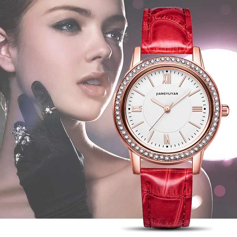 New Watch Women Fashion Simple Watches With Rhinestone Multiple Colors Leather Strap Wristwatch Girls Gift Watch 2019New Watch Women Fashion Simple Watches With Rhinestone Multiple Colors Leather Strap Wristwatch Girls Gift Watch 2019