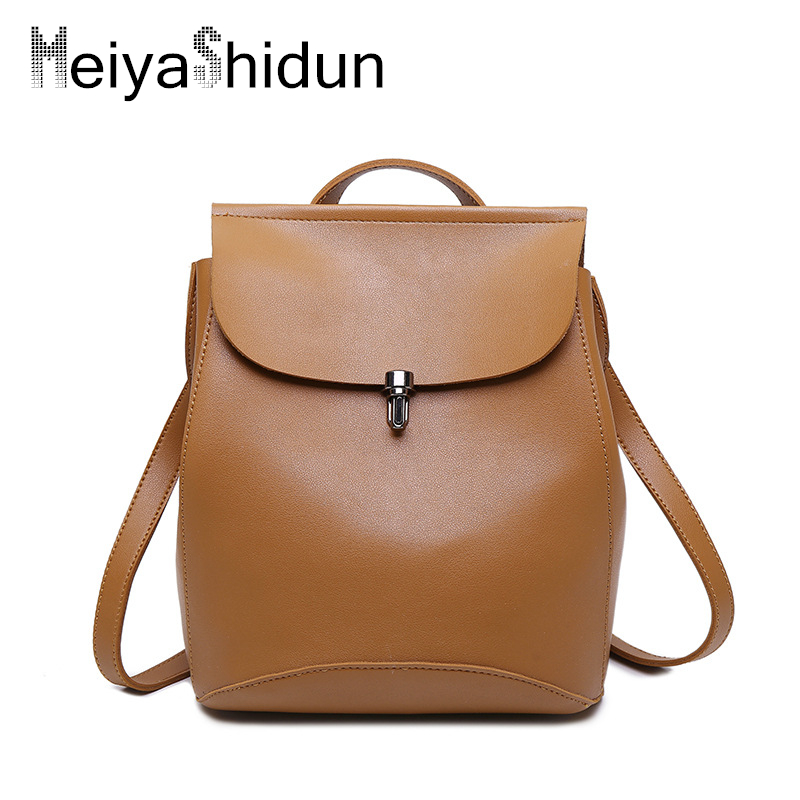 MeiyaShidun Fashion Leather Backpack Women Bags Preppy Style Backpack Teenager Girls School Bags Zipper Mochila Shoulder Bagpack