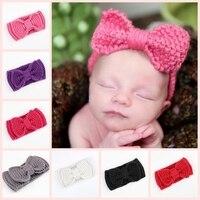2017 Hot Sale Fashion Baby Turban Ear Warm Headband Crochet Knitted Bow Hairband Head Wrap Hair